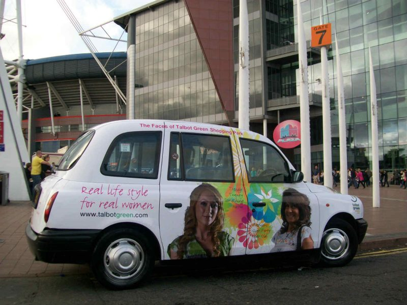 taxi advetising in cardiff - talbot green campaign