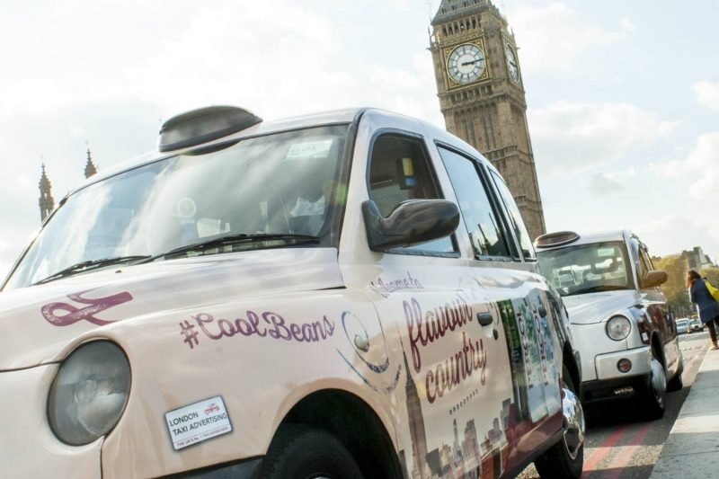 percol full wrap taxi outside parliament in london